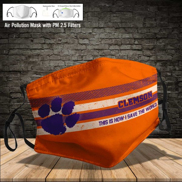 NCAA - Clemson Tigers #6 Save The World Print Fabric, Reusable Dust Mask, Face Cover with Filter Activated Carbon PM 2.5