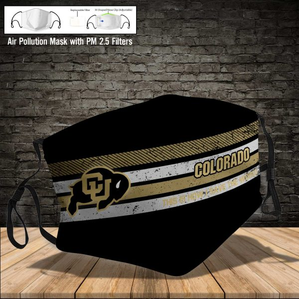 NCAA - Colorado Buffaloes #6 Save The World Print Fabric, Reusable Dust Mask, Face Cover with Filter Activated Carbon PM 2.5