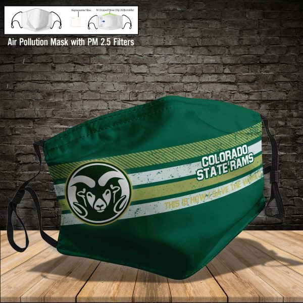 NCAA - Colorado State Rams #6 Save The World Print Fabric, Reusable Dust Mask, Face Cover with Filter Activated Carbon PM 2.5