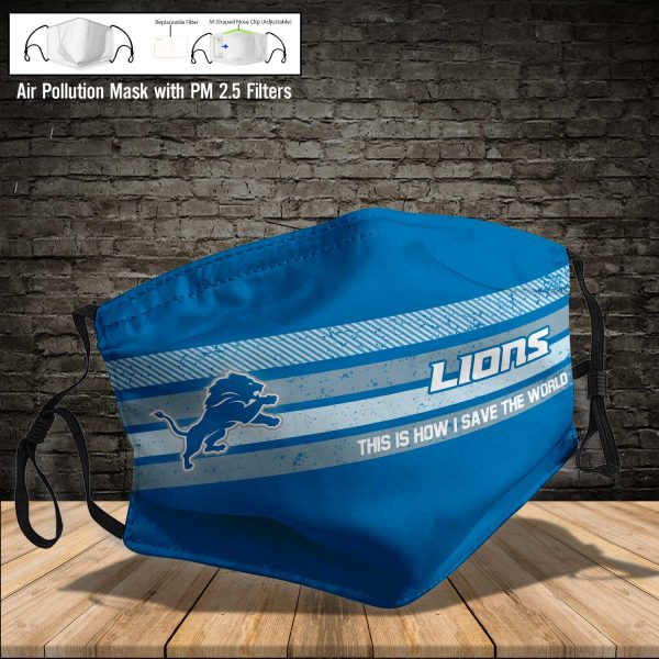 NFL - Detroit Lions #6 Save The World (Print Fabric, Reusable Dust Mask, Face Cover with Filter Activated Carbon PM 2.5)