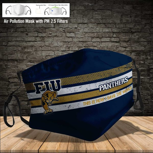 NCAA - Fiu Golden Panthers #6 Save The World Print Fabric, Reusable Dust Mask, Face Cover with Filter Activated Carbon PM 2.5