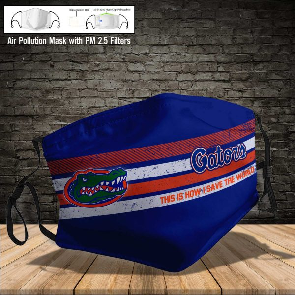 NCAA - Florida Gators #6 Save The World Print Fabric, Reusable Dust Mask, Face Cover with Filter Activated Carbon PM 2.5