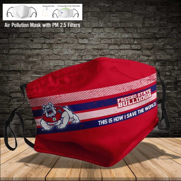 NCAA - Fresno State Bulldogs #6 Save The World Print Fabric, Reusable Dust Mask, Face Cover with Filter Activated Carbon PM 2.5