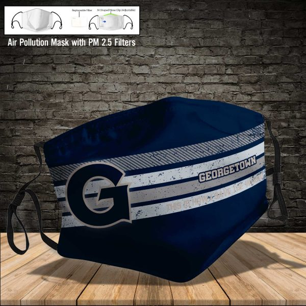 NCAA - Georgetown Hoyas #6 Save The World Print Fabric, Reusable Dust Mask, Face Cover with Filter Activated Carbon PM 2.5