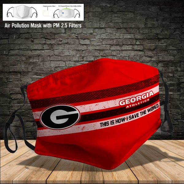 NCAA - Georgia Bulldogs #6 Save The World Print Fabric, Reusable Dust Mask, Face Cover with Filter Activated Carbon PM 2.5