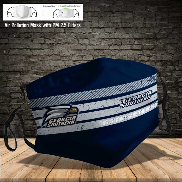 NCAA - Georgia Southern Eagles #6 Save The World Print Fabric, Reusable Dust Mask, Face Cover with Filter Activated Carbon PM 2.5