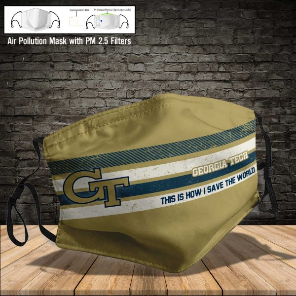 NCAA - Georgia Tech Yellow Jackets #6 Save The World Print Fabric, Reusable Dust Mask, Face Cover with Filter Activated Carbon PM 2.5