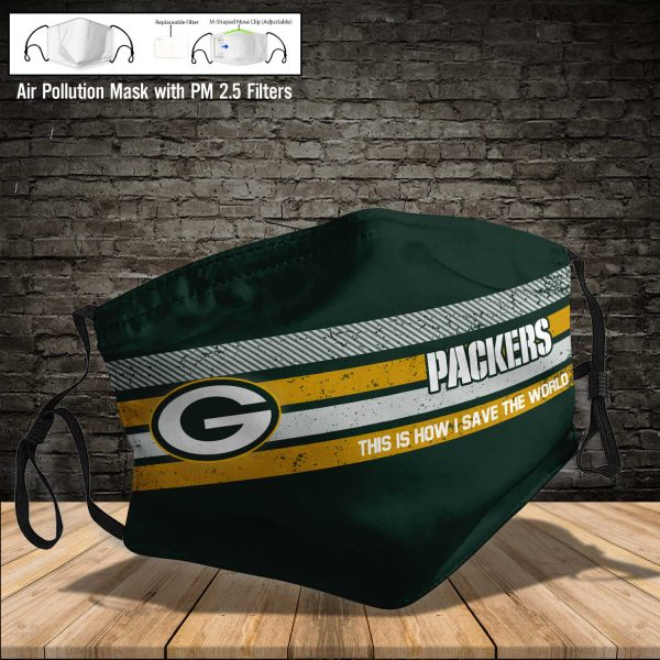 NFL - Green Bay Packers #6 Save The World (Print Fabric, Reusable Dust Mask, Face Cover with Filter Activated Carbon PM 2.5)