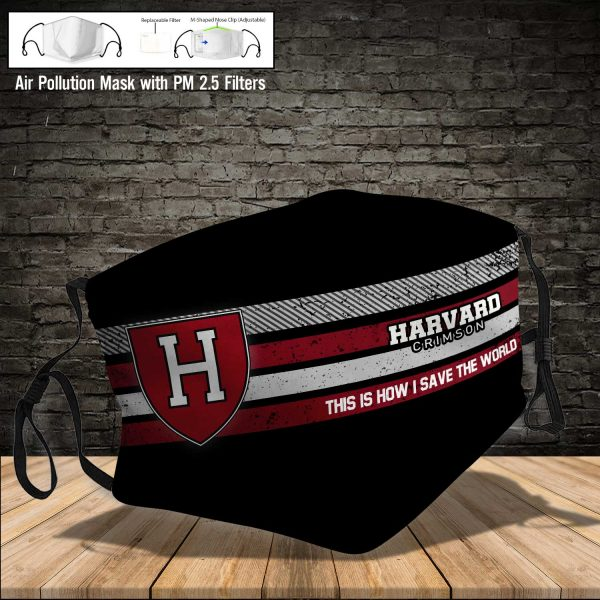 NCAA - Harvard Crimson #6 Save The World Print Fabric, Reusable Dust Mask, Face Cover with Filter Activated Carbon PM 2.5