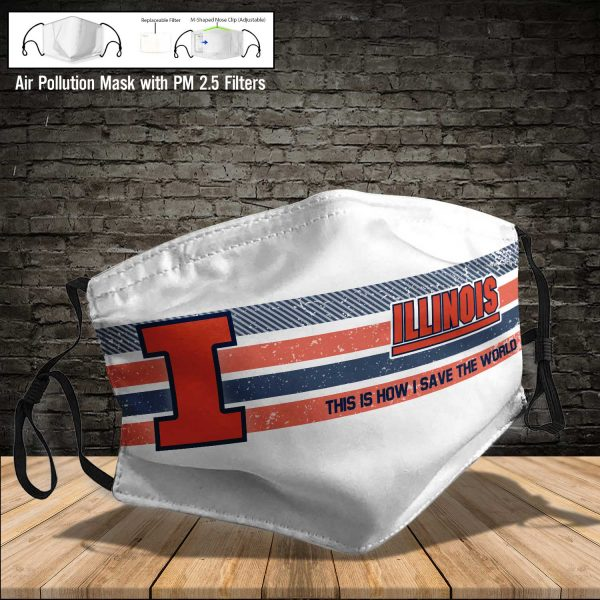 NCAA - Illinois Fighting Illini #6 Save The World Print Fabric, Reusable Dust Mask, Face Cover with Filter Activated Carbon PM 2.5