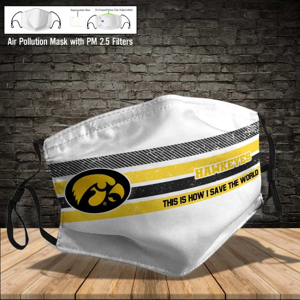 NCAA - Iowa Hawkeyes #6 Save The World Print Fabric, Reusable Dust Mask, Face Cover with Filter Activated Carbon PM 2.5