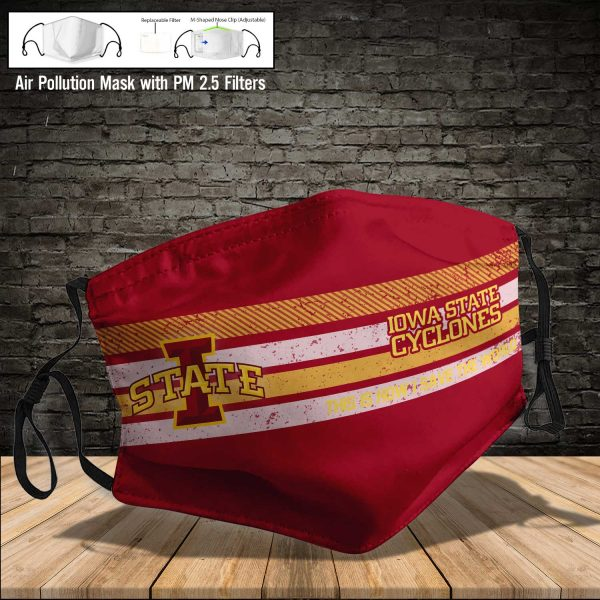 NCAA - Iowa State Cyclones #6 Save The World Print Fabric, Reusable Dust Mask, Face Cover with Filter Activated Carbon PM 2.5