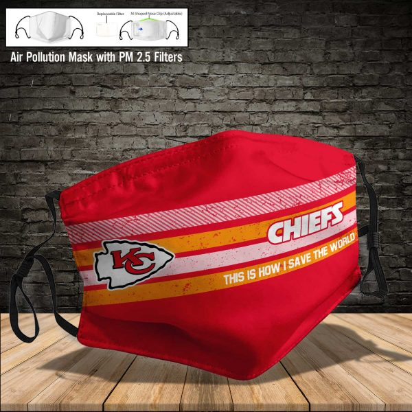 NFL - Kansas City Chiefs #6 Save The World (Print Fabric, Reusable Dust Mask, Face Cover with Filter Activated Carbon PM 2.5)