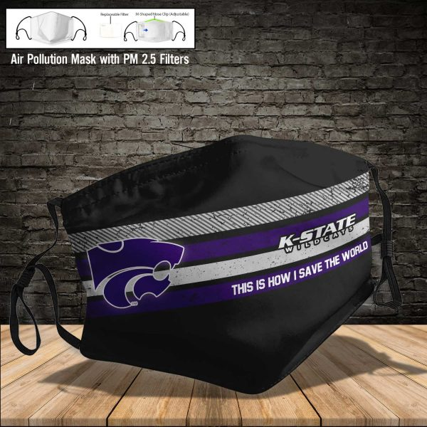 NCAA - Kansas State Wildcats #6 Save The World Print Fabric, Reusable Dust Mask, Face Cover with Filter Activated Carbon PM 2.5