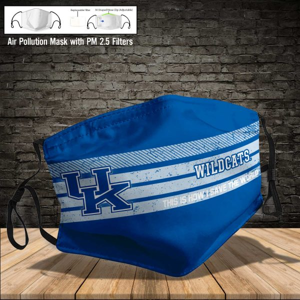 NCAA - Kentucky Wildcats #6 Save The World Print Fabric, Reusable Dust Mask, Face Cover with Filter Activated Carbon PM 2.5