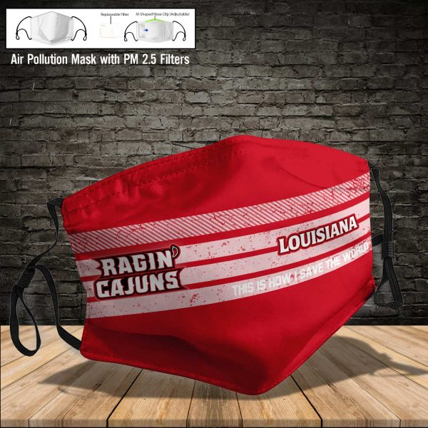 NCAA - Louisiana Ragin Cajuns #6 Save The World Print Fabric, Reusable Dust Mask, Face Cover with Filter Activated Carbon PM 2.5