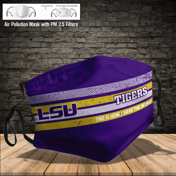 NCAA - LSU Tigers #6 Save The World Print Fabric, Reusable Dust Mask, Face Cover with Filter Activated Carbon PM 2.5