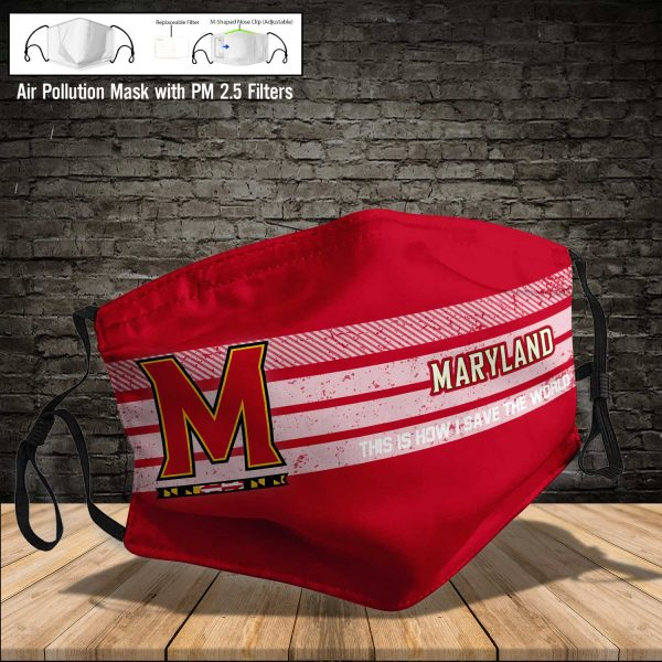NCAA - Maryland Terrapins #6 Save The World Print Fabric, Reusable Dust Mask, Face Cover with Filter Activated Carbon PM 2.5