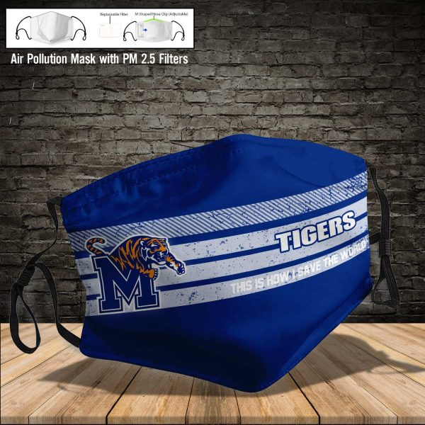 NCAA - Memphis Tigers #6 Save The World Print Fabric, Reusable Dust Mask, Face Cover with Filter Activated Carbon PM 2.5
