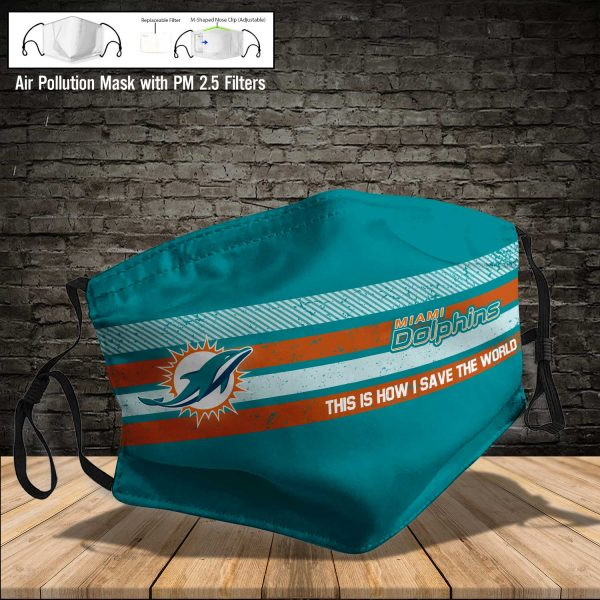 NFL - Miami Dolphins #6 Save The World (Print Fabric, Reusable Dust Mask, Face Cover with Filter Activated Carbon PM 2.5)