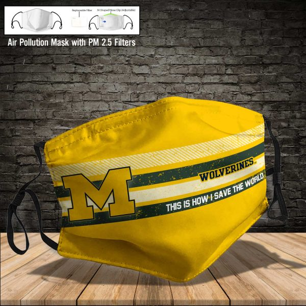 NCAA - Michigan Wolverines #6 Save The World Print Fabric, Reusable Dust Mask, Face Cover with Filter Activated Carbon PM 2.5