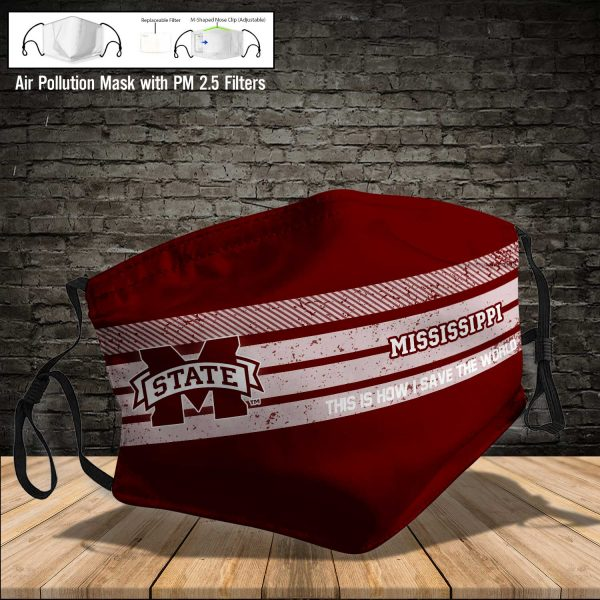 NCAA - Mississippi State Bulldogs #6 Save The World Print Fabric, Reusable Dust Mask, Face Cover with Filter Activated Carbon PM 2.5