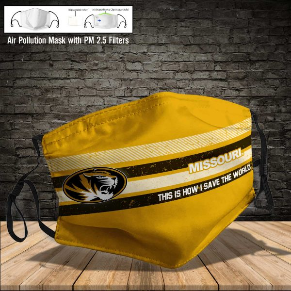 NCAA - Missouri Tigers #6 Save The World Print Fabric, Reusable Dust Mask, Face Cover with Filter Activated Carbon PM 2.5