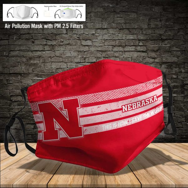 NCAA - Nebraska Cornhuskers #6 Save The World Print Fabric, Reusable Dust Mask, Face Cover with Filter Activated Carbon PM 2.5