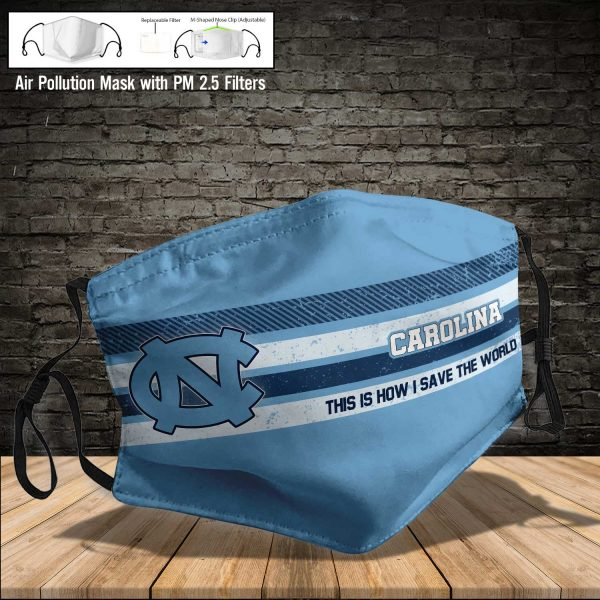 NCAA - North Carolina Tar Heels #6 Save The World Print Fabric, Reusable Dust Mask, Face Cover with Filter Activated Carbon PM 2.5