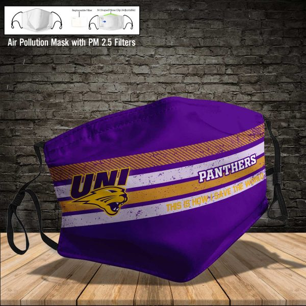 NCAA - Northern Iowa Panthers #6 Save The World Print Fabric, Reusable Dust Mask, Face Cover with Filter Activated Carbon PM 2.5