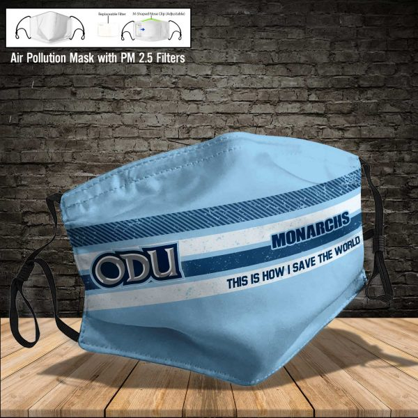 NCAA - Old Dominion Monarchs #6 Save The World Print Fabric, Reusable Dust Mask, Face Cover with Filter Activated Carbon PM 2.5
