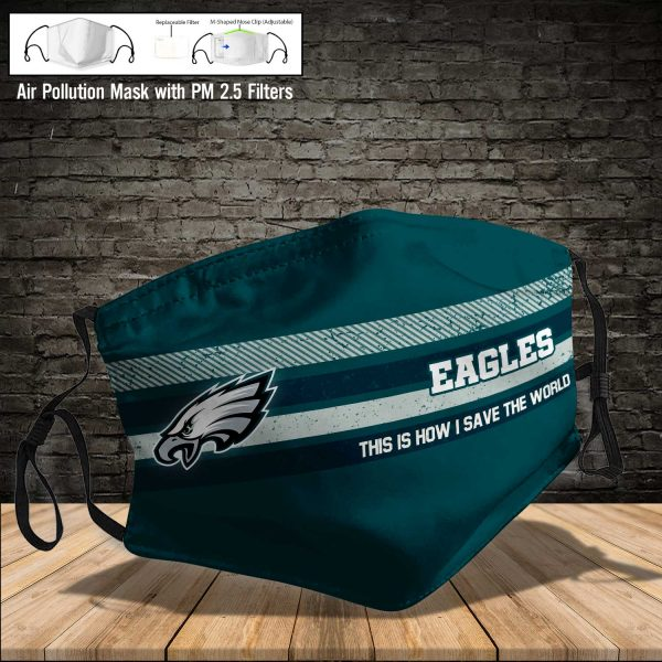 NFL - Philadelphia Eagles #6 Save The World (Print Fabric, Reusable Dust Mask, Face Cover with Filter Activated Carbon PM 2.5)