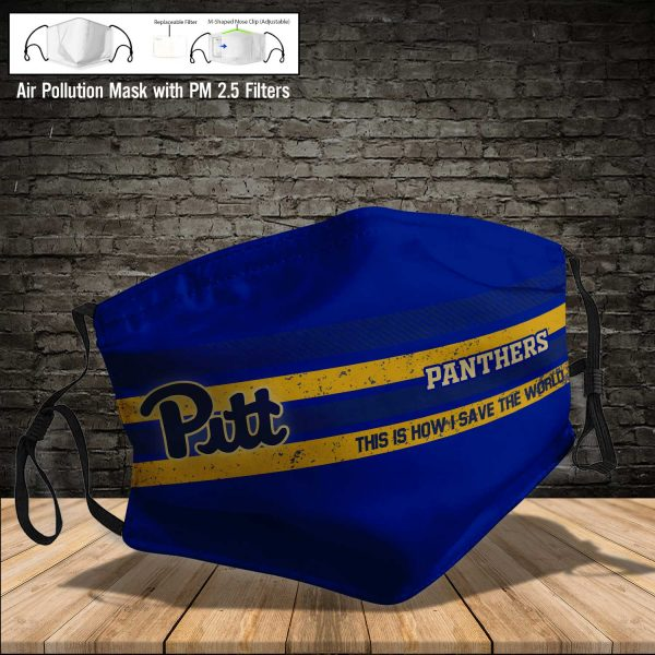 NCAA - Pitt Panthers #6 Save The World Print Fabric, Reusable Dust Mask, Face Cover with Filter Activated Carbon PM 2.5