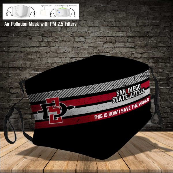 NCAA - San Diego State Aztecs #6 Save The World Print Fabric, Reusable Dust Mask, Face Cover with Filter Activated Carbon PM 2.5