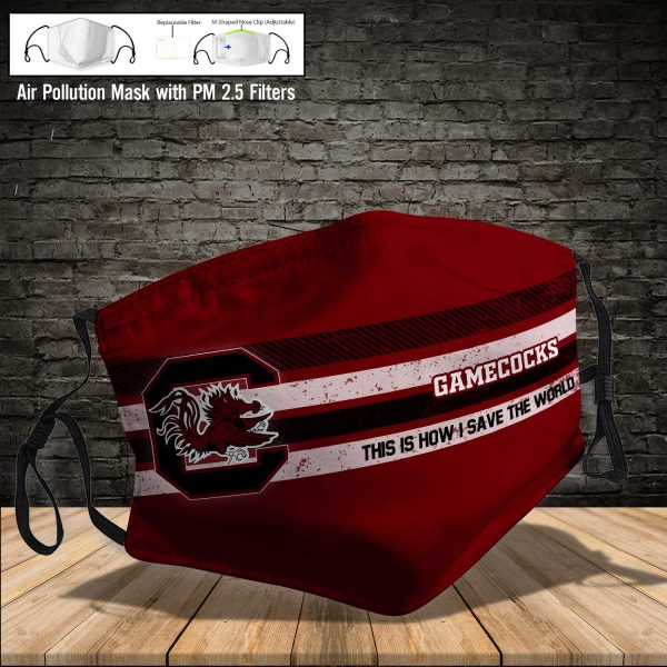 NCAA - South Carolina Gamecocks #6 Save The World Print Fabric, Reusable Dust Mask, Face Cover with Filter Activated Carbon PM 2.5