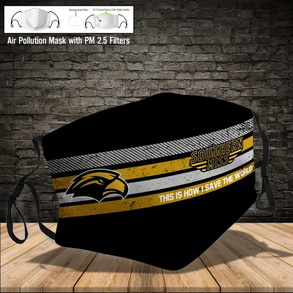 NCAA - Southern Miss Golden Eagles #6 Save The World Print Fabric, Reusable Dust Mask, Face Cover with Filter Activated Carbon PM 2.5