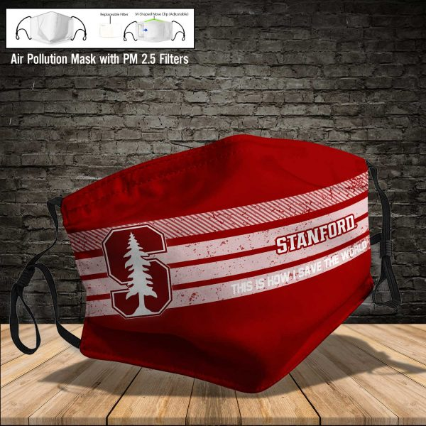 NCAA - Stanford Cardinal #6 Save The World Print Fabric, Reusable Dust Mask, Face Cover with Filter Activated Carbon PM 2.5