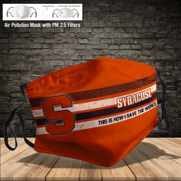 NCAA - Syracuse Orange #6 Save The World Print Fabric, Reusable Dust Mask, Face Cover with Filter Activated Carbon PM 2.5