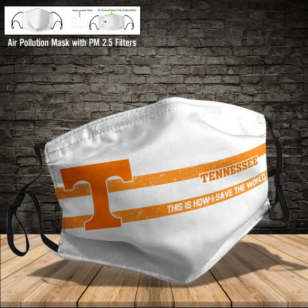 NCAA - Tennessee Volunteers #6 Save The World Print Fabric, Reusable Dust Mask, Face Cover with Filter Activated Carbon PM 2.5