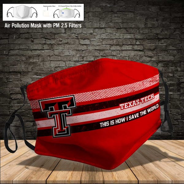 NCAA - Texas Tech Red Raiders #6 Save The World Print Fabric, Reusable Dust Mask, Face Cover with Filter Activated Carbon PM 2.5
