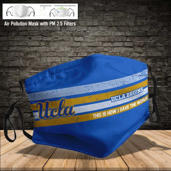 NCAA - UCLA Bruins #6 Save The World Print Fabric, Reusable Dust Mask, Face Cover with Filter Activated Carbon PM 2.5
