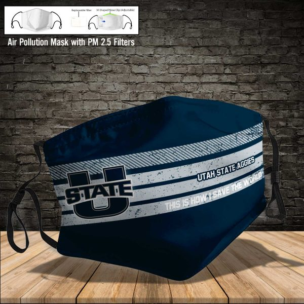 NCAA - Utah State Aggies #6 Save The World Print Fabric, Reusable Dust Mask, Face Cover with Filter Activated Carbon PM 2.5