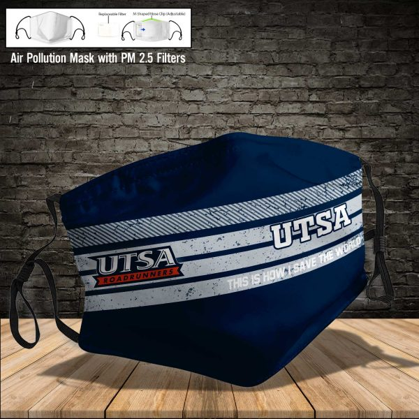 NCAA - Utsa Roadrunners #6 Save The World Print Fabric, Reusable Dust Mask, Face Cover with Filter Activated Carbon PM 2.5