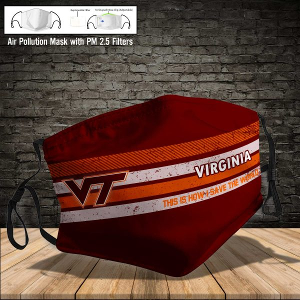NCAA - Virginia Tech Hokies #6 Save The World Print Fabric, Reusable Dust Mask, Face Cover with Filter Activated Carbon PM 2.5