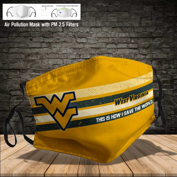 NCAA - West Virginia Mountaineers #6 Save The World Print Fabric, Reusable Dust Mask, Face Cover with Filter Activated Carbon PM 2.5