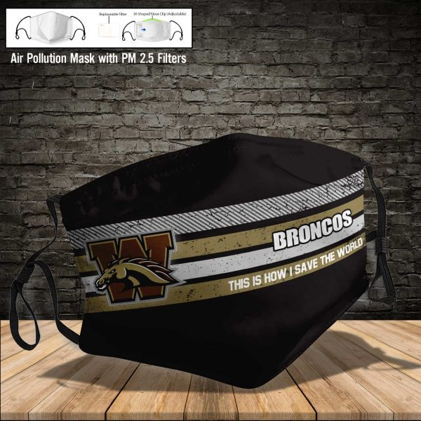 NCAA - Western Michigan Broncos #6 Save The World Print Fabric, Reusable Dust Mask, Face Cover with Filter Activated Carbon PM 2.5