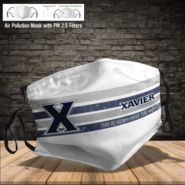 NCAA - Xavier Musketeers #6 Save The World Print Fabric, Reusable Dust Mask, Face Cover with Filter Activated Carbon PM 2.5
