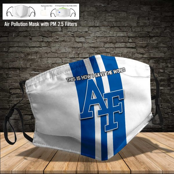 NCAA - Air Force Falcons #8 Save The World Print Fabric, Reusable Dust Mask, Face Cover with Filter Activated Carbon PM 2.5