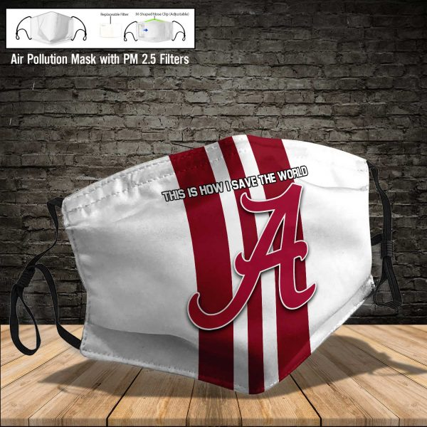 NCAA - Alabama Crimson Tide #8 Save The World Print Fabric, Reusable Dust Mask, Face Cover with Filter Activated Carbon PM 2.5