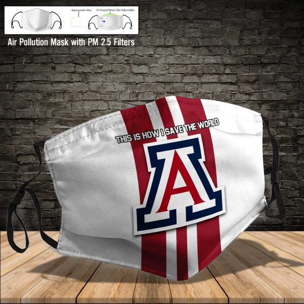 NCAA - Arizona Wildcats football #8 Save The World Print Fabric, Reusable Dust Mask, Face Cover with Filter Activated Carbon PM 2.5
